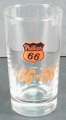 """Vintage Phillips 66 Glass Tumbler """"It's 66 for '56"""" Gas Oil Advertising"""