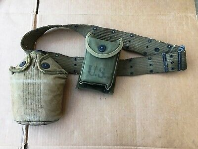 WWII US Army Canteen, Web Belt, and First Aid Kit 1945 EP&F