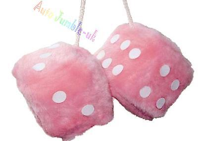 BIG LARGE Fuzzy fluffy furry pink dice HEN party girl car mirror hanging string