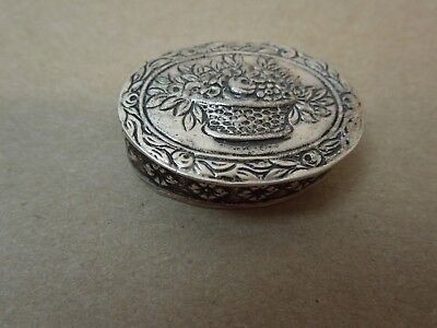German 800 Silver Antique Repousse Pill Box Hallmarked Floral Motif - Post 1886
