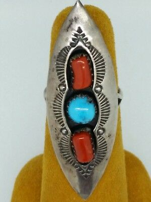 Vintage Floyd Arviso Navajo Turquoise Sterling Silver Coral Hand Tooled Ring