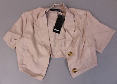 2132db0b3 Nasty Gal Women's Cute As A Button Crop Shirt SV3 Natural Size US:6 NWT