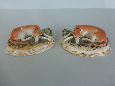 Pair Late 19Thc. Staffordshire Seated Greyhounds On Bases - Kent Pottery