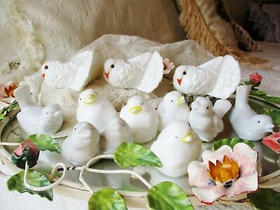 Vintage Lot Love Birds White Ceramic Doves Wedding Reception Table Cage Birdcage
