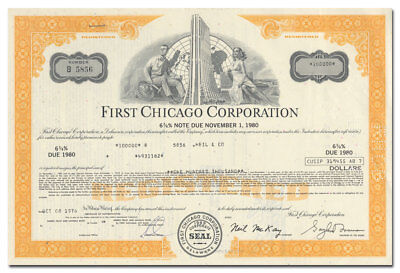 First Chicago Corporation Bond Certificate (Chase Tower Vignette)