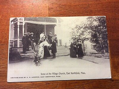 Postcard East Northfield, Mass. Scene at the Village Church. Posted 1911