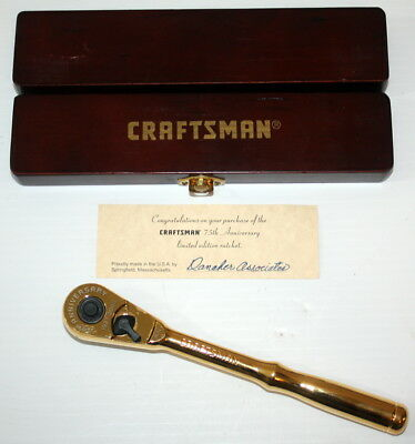 "Craftsman 75th Anniversary 3/8"" Ratchet 22k Plated Limited Edition FREE SHIP USA"