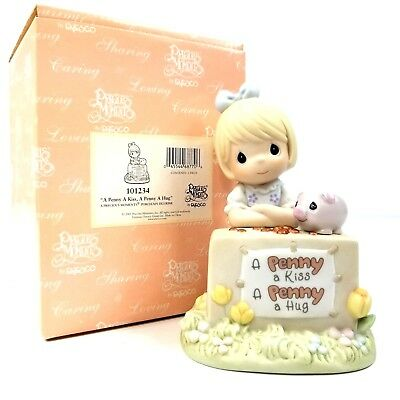 Precious Moments A Penny A Kiss A Penny A Hug 101234 Enesco 2001 Collectible New
