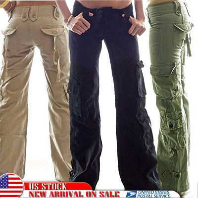 Womens Retro Cargo Trousers Army Loose Sports Combat Wide Leg Long Pants Pockets