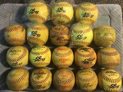 Huge Lot Of 18 New & Used Dudley And More Yellow Green Fast Pitch Softballs