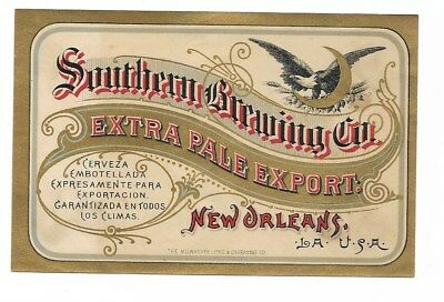 Pre Prohibition Southern Brewing Extra Pale Export Beer label New Orleans LA