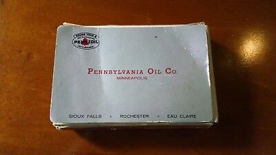 Vintage PENNSYLVANIA OIL CO (PENNZOIL) Playing Card deck in box with Thank you