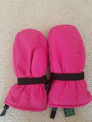 Toddler Girl's L.L. BEAN Pink Thinsulate Winter Snow Mittens Size 2T - 4T