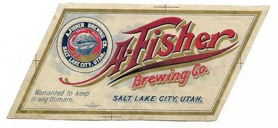 Pre Prohibition A Fisher Brewing Beer label Salt Lake City UT