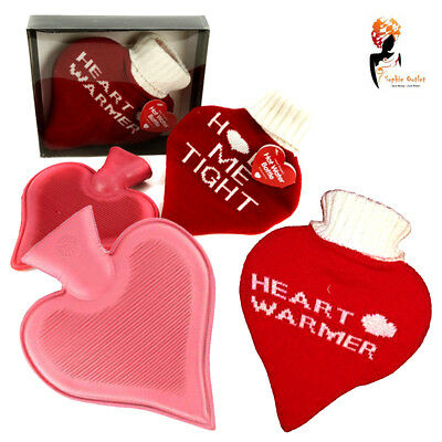 Hot Water Bottle Knitted Cover Heart Shaped with Message Valentine Gift for Her