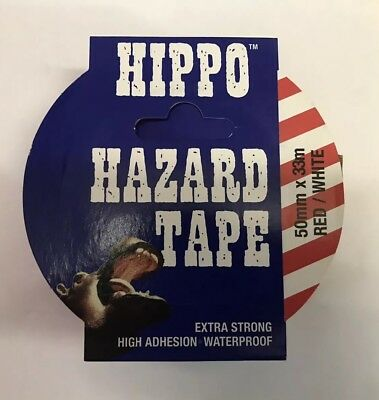 JOB LOT 14x HIPPO hazard Tape 50mmx33m RED / WHITE Self Adhesive WARNING