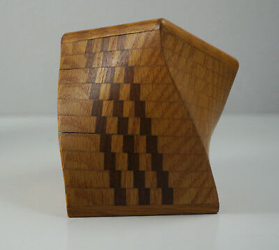Modernist Wood Marquetry Vessel Sculpture Geometric 1990s Signed KK