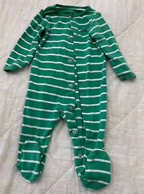 Size 9 Months, One Piece Sleeper, Green/White, Snap Up Front, by Carter's