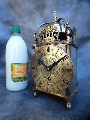 A Good Working 8 Day Smiths Brass Cased  Lantern Clock With Key * Serviced *