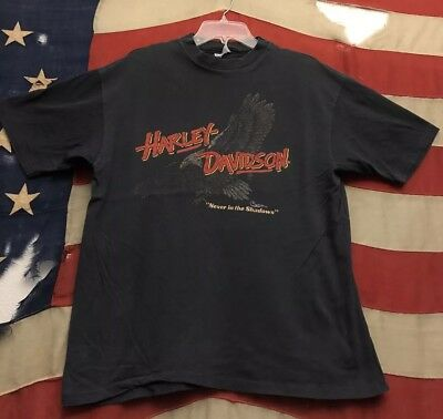 VINTAGE 80's HARLEY DAVIDSON NEVER IN THE SHADOWS 1986 BIKERS ONLY T SHIRT sz XL
