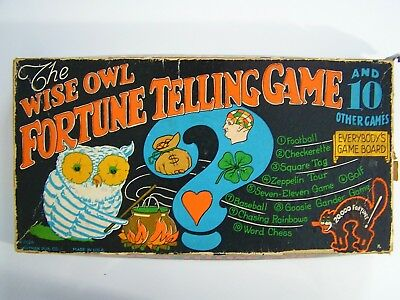 Antique WHITMAN The Wise Owl FORTUNE TELLING GAME Halloween BLACK CAT Vintage