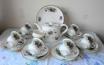 """Pretty Vintage China Teaset """"Sweet Violets"""" with Radford Teapot"""
