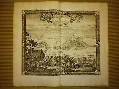 Antique map Castellum ad Pagum Lehe PUFENDORF 1697 DAHLBERG BATTLE SCENE GERMANY