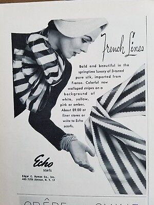 1953 women's Echo neck scarves scarf French lines vintage fashion ad