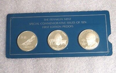 Franklin Mint Special Commemorative Issues 1974 First Ed. Silver Proofs 3 Medals