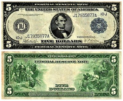 1914 $5 Lg Size Federal Reserve Note LINCOLN 10 J Kansas City FR#890 Circulated