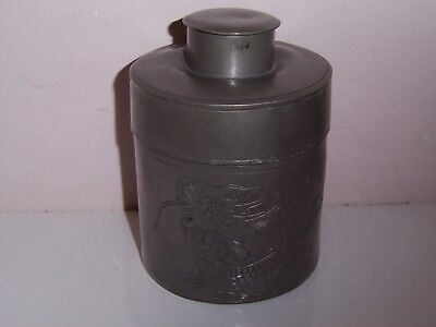 Antique Chinese Kut Hing Swatow Pewter Tea Caddy Container Dragon Detail Signed