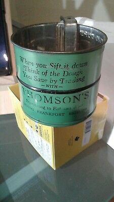 VINTAGE FLOUR SIFTER ADVERTISING 1940's THOMSON'S TRADING.ORIGINAL,VERY RARE.