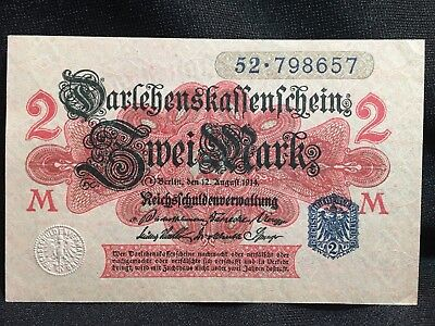 2 Mark 1914 - German Original banknote, Series: 52-798657-M