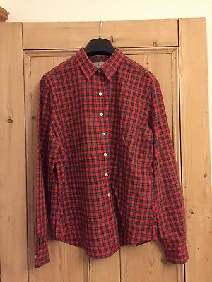 Vintage Crisp Cotton Red And Green Check Blouse.