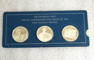 Franklin Mint Special Commemorative Issues 1973 First Ed.Silver Proofs 3 Medal A