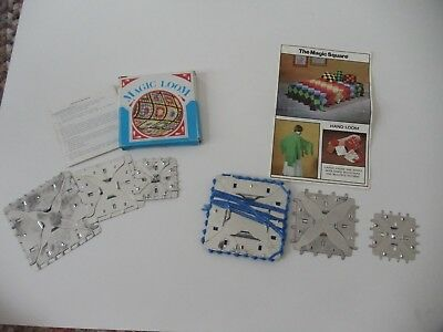 Vintage MAGIC SQUARE Hand Loom 6 Metal Looms Needle PATTERNS and Instructions