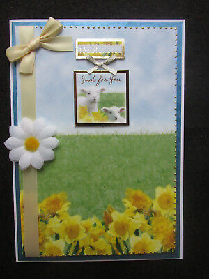 Handmade A5 Beautifully Decorated Spring Lambs Easter  Wishes Just For You Card