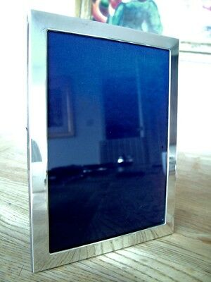 """VINTAGE 7"""" x 5"""" ENGLISH HM2001 SOLID SILVER PHOTO PICTURE FRAME KITNEY NO RES"""
