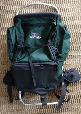 Jansport Green External Frame Backpack Hip Pads Hiking Camping Made in USA EUC!