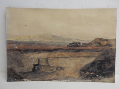 really old PAINTING water colour HARDEN QUARRY
