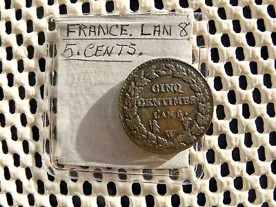 FRANCE. 5 Cinq centimes L'AN 8  (1799) W.