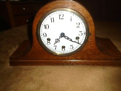 Enfield ,westminster Chime Oak Mantle Clock In Excellent-Re-Furbished Condition