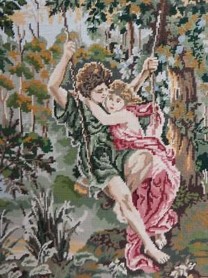 vintage old hand made wool work tapestry lovers on swing