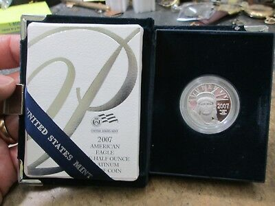 2007 American Eagle 1/2 Ounce PLATINUM $50 PROOF WITH CASE AND COA