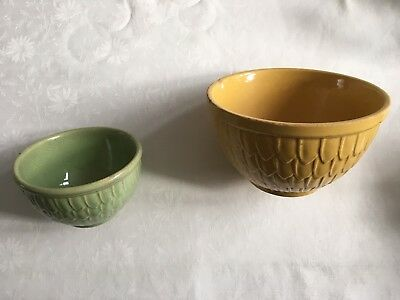 "Vintage McCoy USA Fish Scale 8"" & 6"" Mixing Bowls green yellow - Art Pottery"