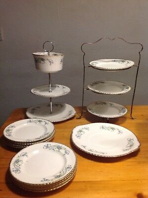 VINTAGE  BONE CHINA CAKE TEA SET 10 Plates And Two Cake Stands + Serving Plate