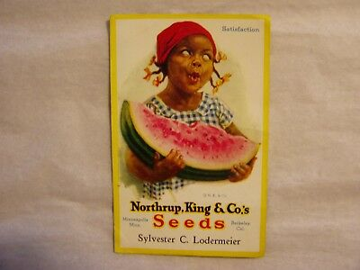 Rare Vintage Black Americana Northrup, King & Co's Seeds Advertising Ink Blotter