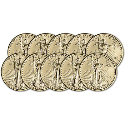 2019 American Gold Eagle 1/4 oz $10 - BU - Ten 10 Coins