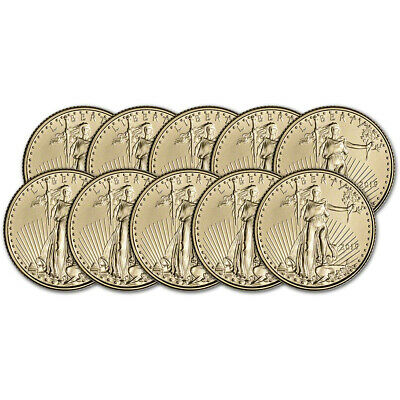 2019 American Gold Eagle 1/10 oz $5 - BU - Ten 10 Coins
