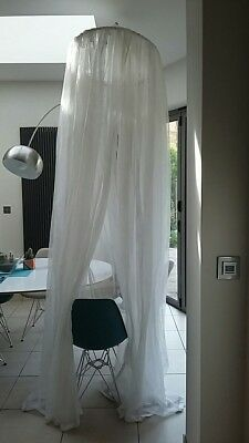 Pretty White Spot Voile Bed Canopy